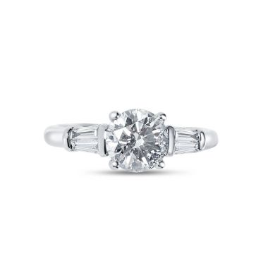 Round Cut with Tapered Baguettes Diamond Engagement Ring Top View
