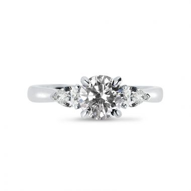 Round Cut and Pair of Pear Shape Side Stones Diamond Engagement Ring Top View