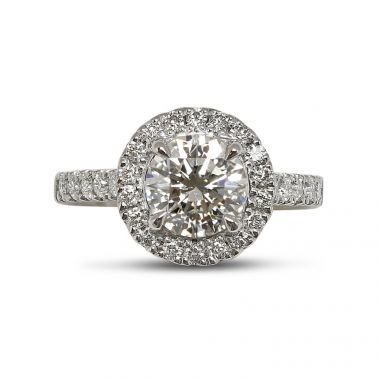 Round Cut Diamond Halo Ring Top View