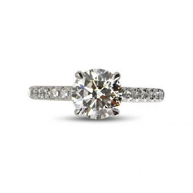 Four Claw Round Cut Micro Setting Solitaire Diamond Engagement Ring Top View