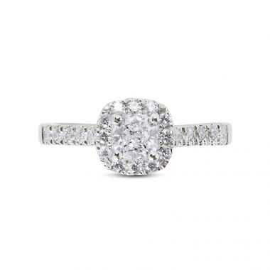 Round Diamond Cushion Halo Engagement Ring Top View