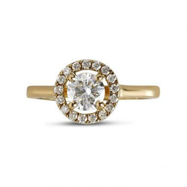 Round Halo Plain Band Diamond Engagement Ring top View