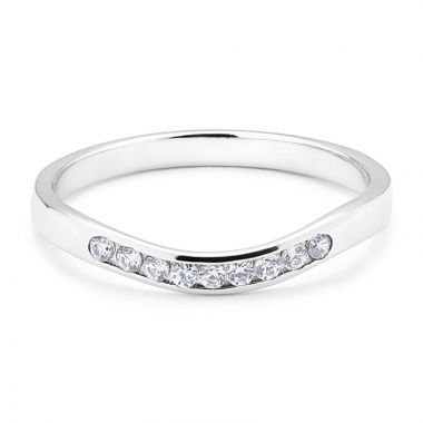 Shaped diamond wedding band channel set