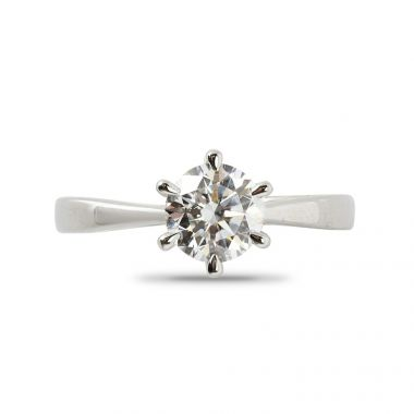 Six Claw Round Cut Plain Band Solitaire Diamond Engagement Ring Top View