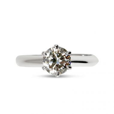 Six Claw Traditional Solitaire Diamond Engagement Ring Top View