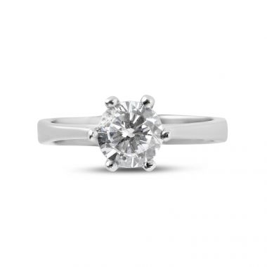 Six Claw Solitaire Round Cut Diamond Engagement Ring Top View