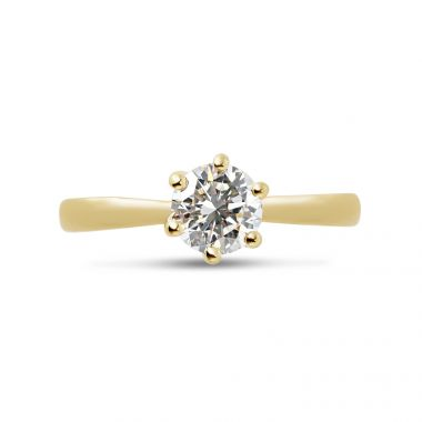 Six Claw Twist Diamond Engagement Ring Top View