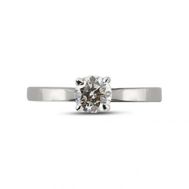 Solitaire Ring with small Round Diamond Below the Center stone top view