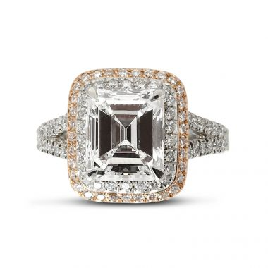 Split Shank Double Halo Emerald Cut Diamond Engagement Ring Top View