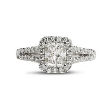Split Shank Radiant Cut Halo Engagement Ring Top View