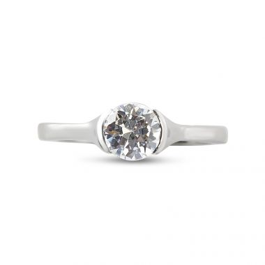 Tension Setting Solitaire Round Diamond Engagement Ring Top View