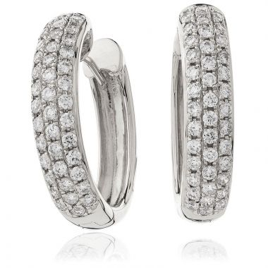 Triple Row Diamond Hoop Earring
