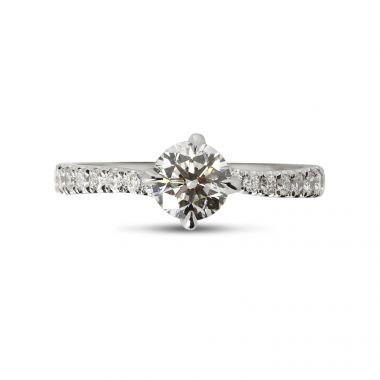 Twist Micro Setting Diamond Engagement Ring Top View