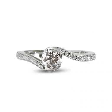 Twist Tension Diamond Engagement Ring Top View