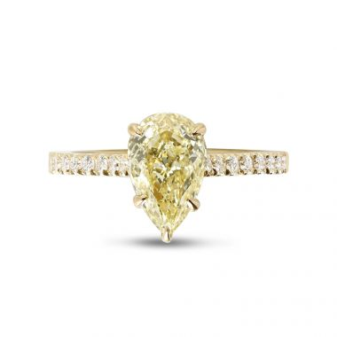 Yellow Gold Five Claw Pear Shaped Micro Setting Diamond Engagement Ring Top View
