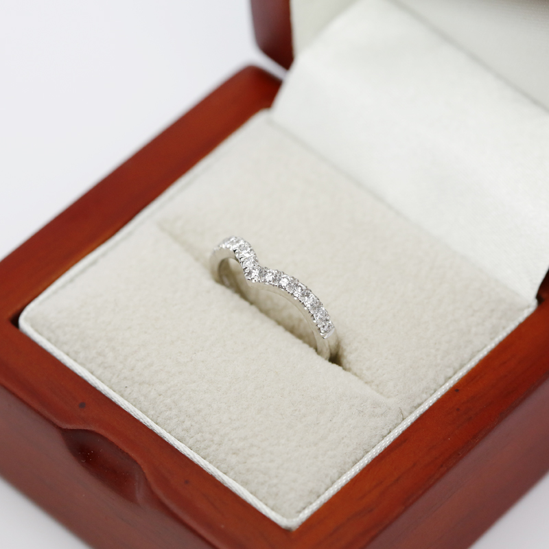 Shaped V Micro Set Diamond Wedding Ring