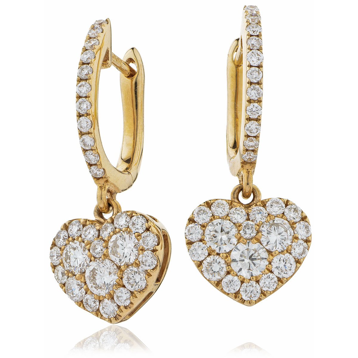 Heart Shape Micro Set Drop Hoops Diamond Earrings
