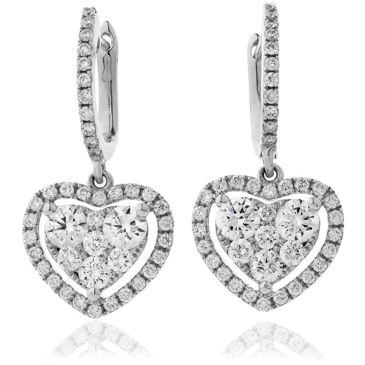 Heart Diamonds Drop Earrings