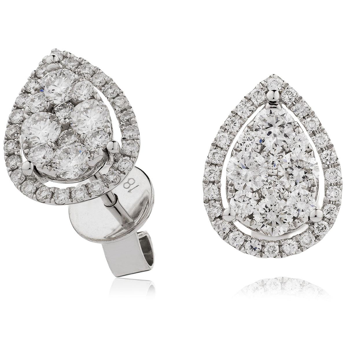 Teardrop Shape Medium Halo Pave Diamond Earrings Studs