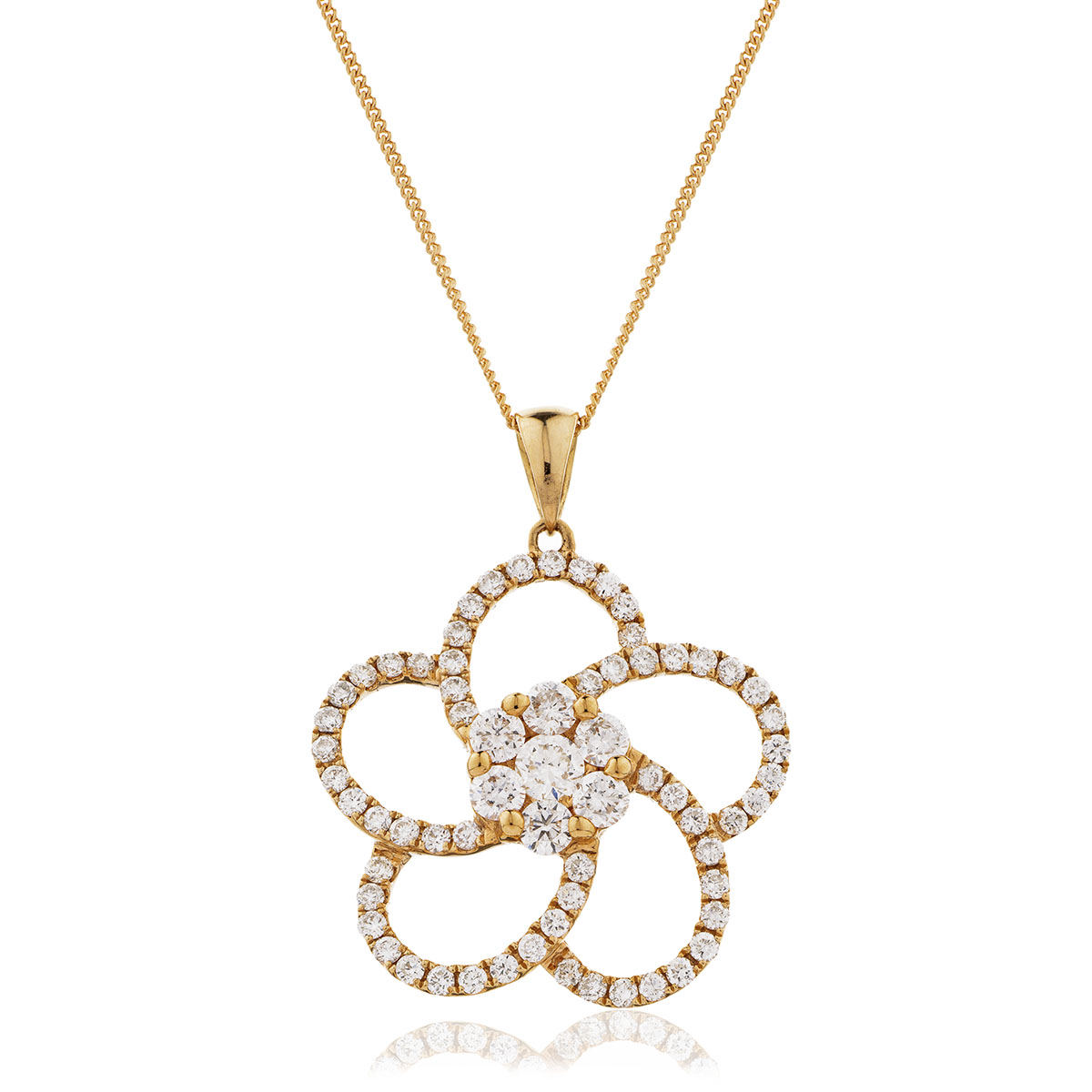 Open Swirl Flower Diamond Pendant