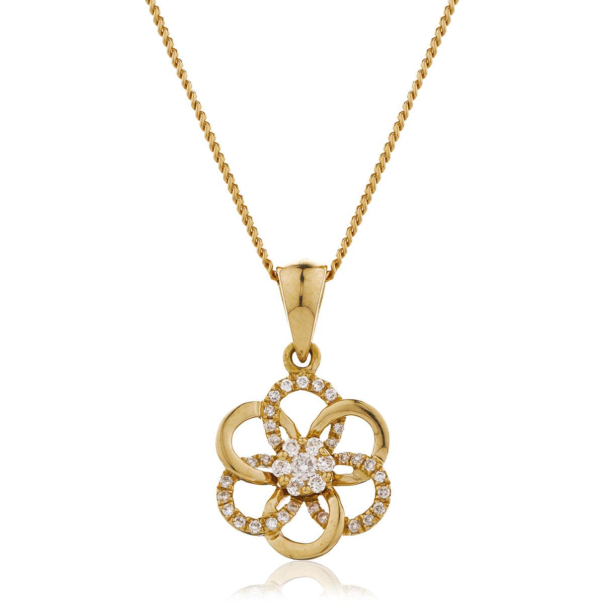 Flower Shape Open Mixed Diamond Pendant