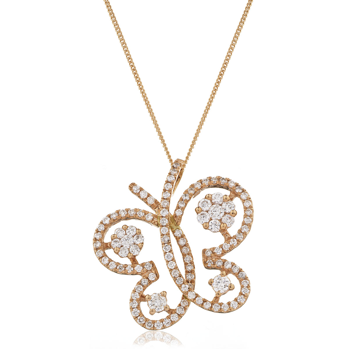 Butterfly Shape Open Pave Diamond Pendant