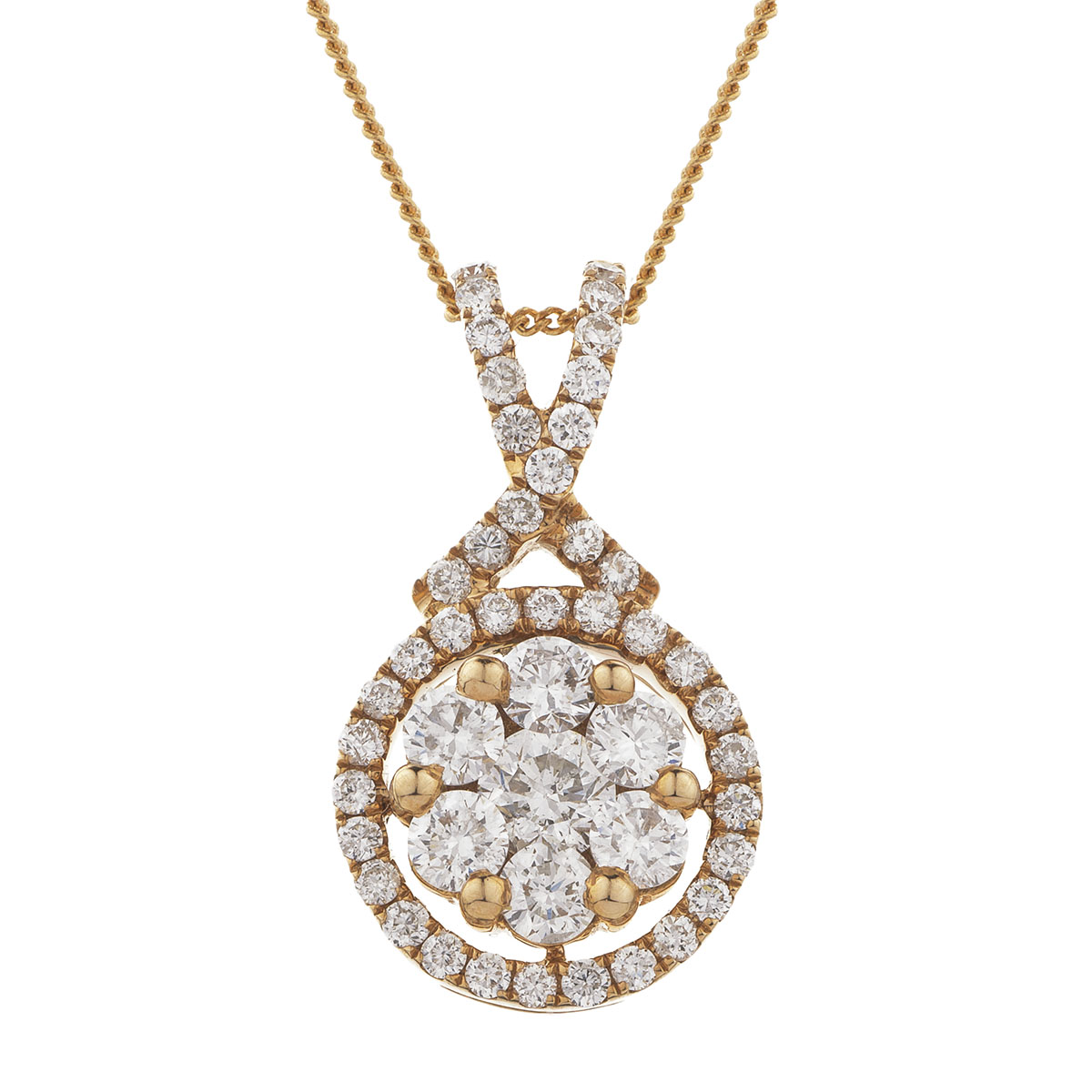 Cross Over Halo Pave Diamond Pendant