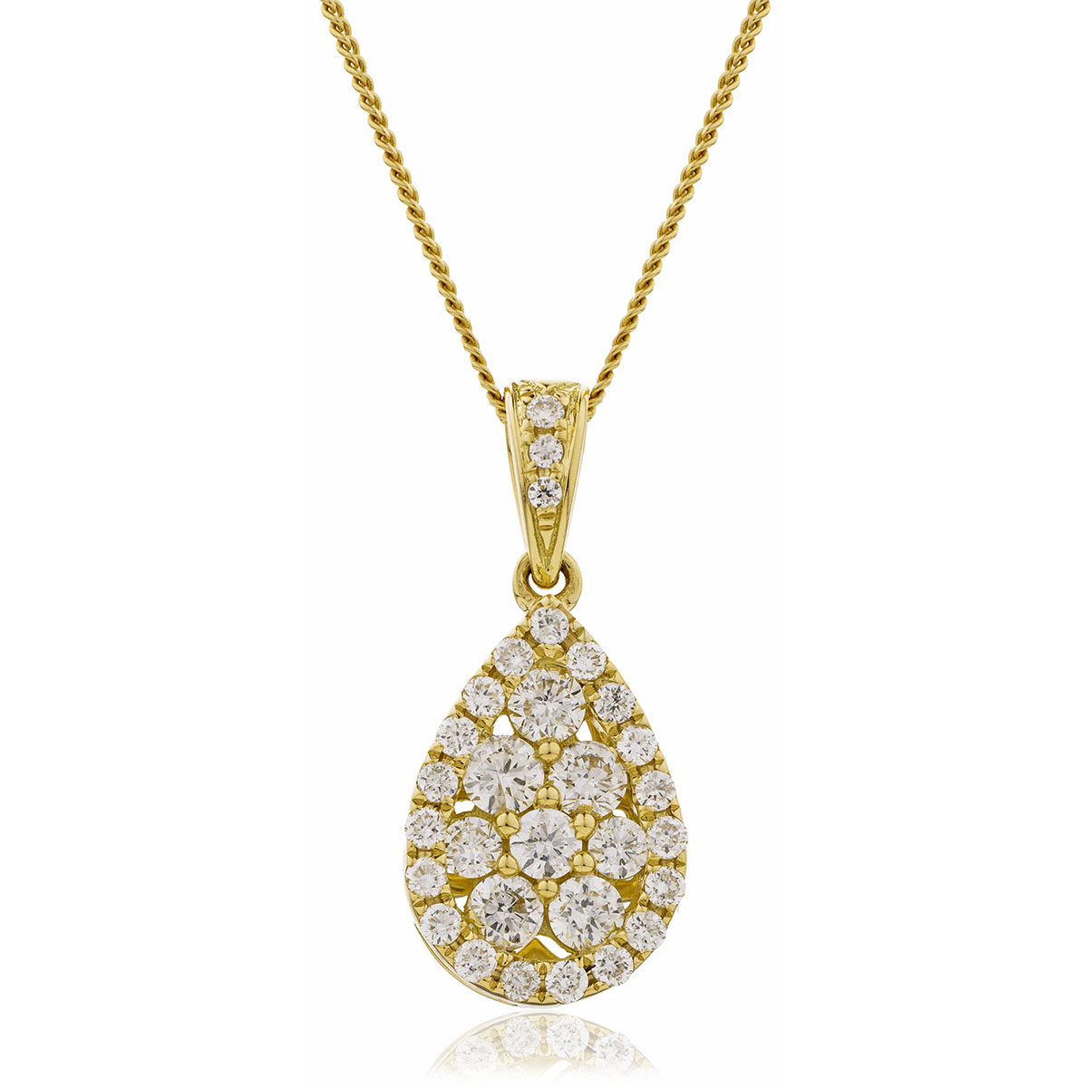 Pear Shaped Medium Pave Diamond Pendant