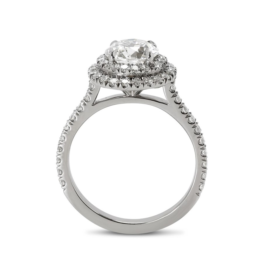 Double Halo Round Lab Grown Diamond Engagement Ring