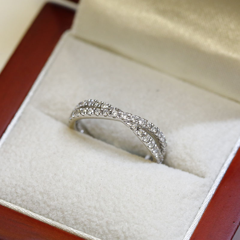 Double Cross Diamond Wedding Ring