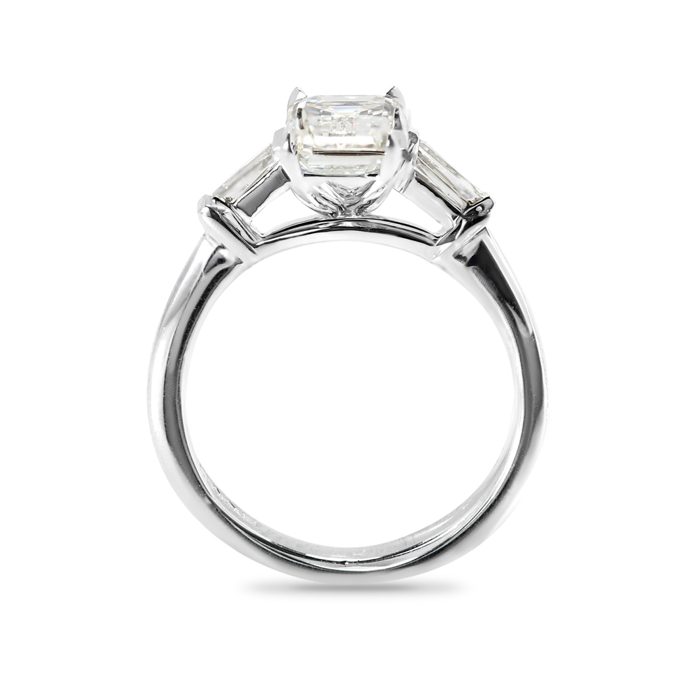 Emerald Cut and Tapered Baguettes Diamond Engagement Ring