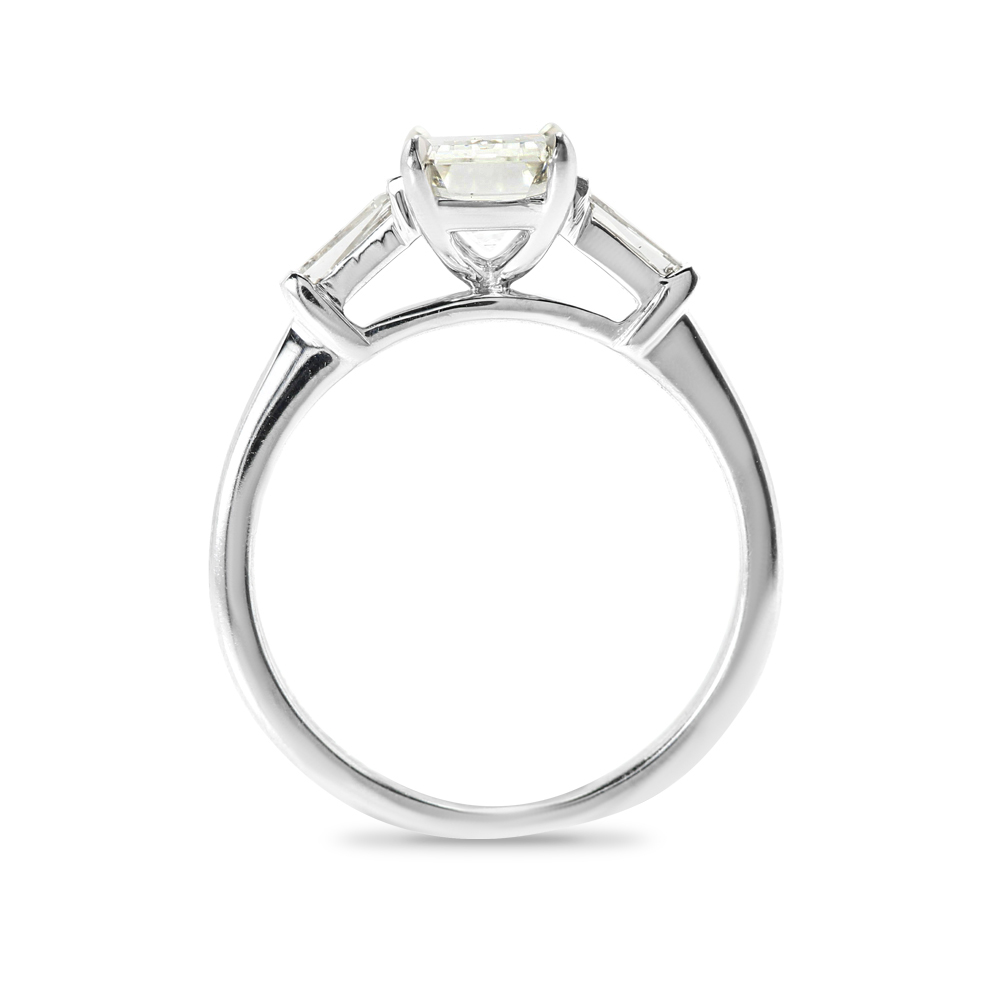 Emerald Cut and Tapered Baguettes Lab Grown Diamond Engagement Ring