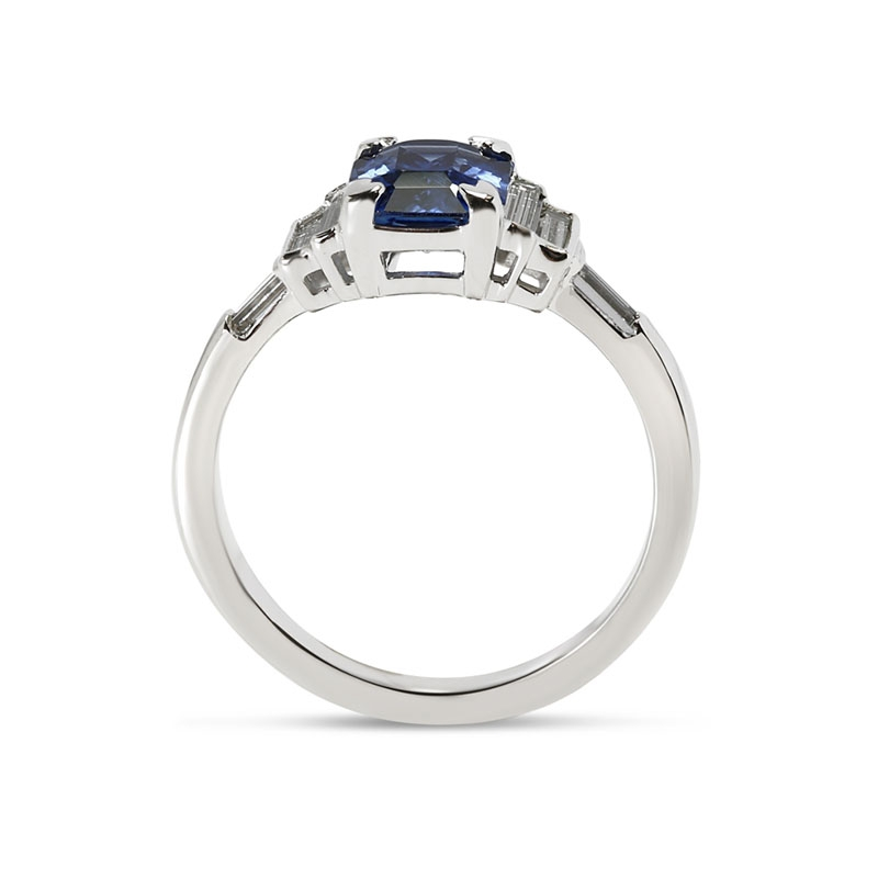 Blue Sapphire Emerald Cut and Side Baguettes Engagement Ring