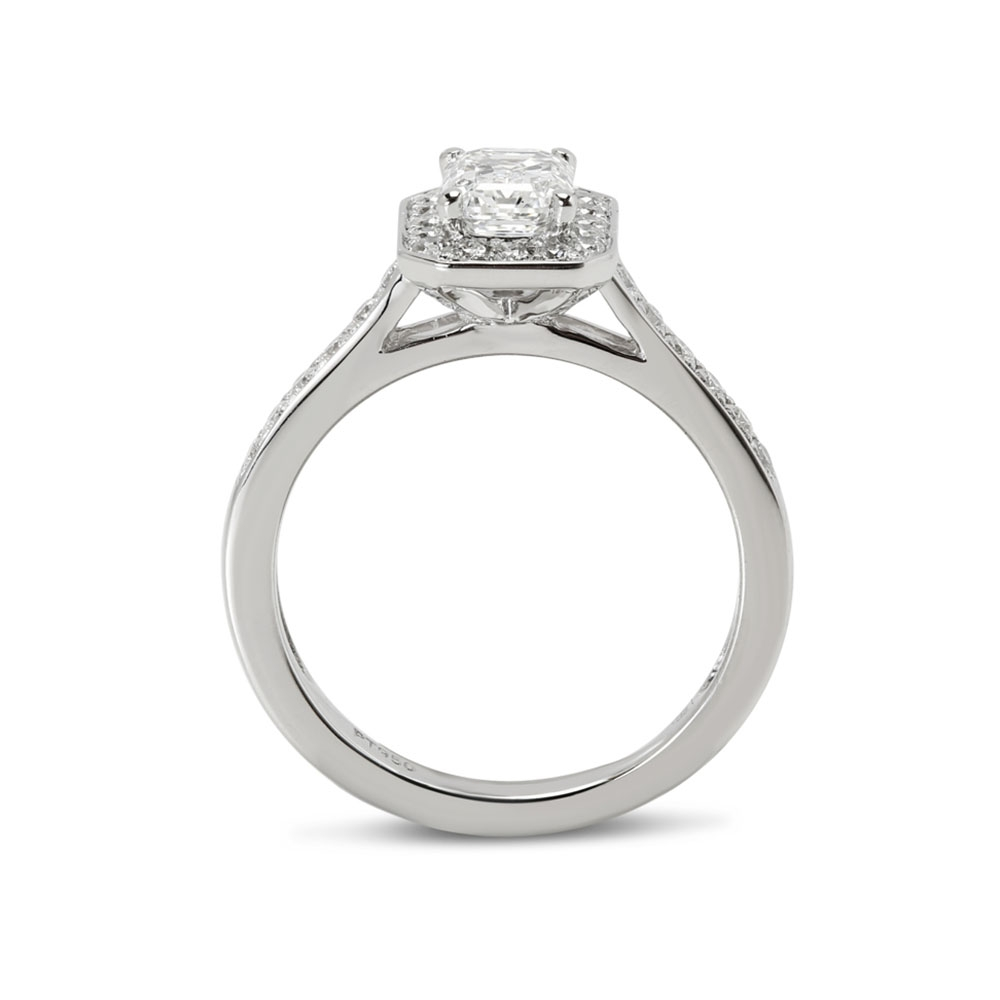 Emerald Cut Pave Set Halo Diamond Engagement Ring