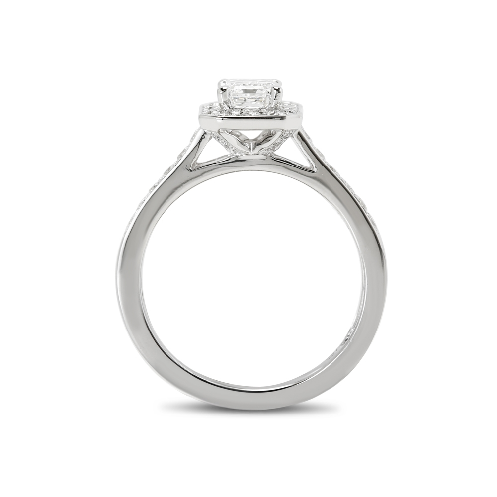 Emerald Cut Halo Pave Set Lab Grown Diamond Engagement Ring