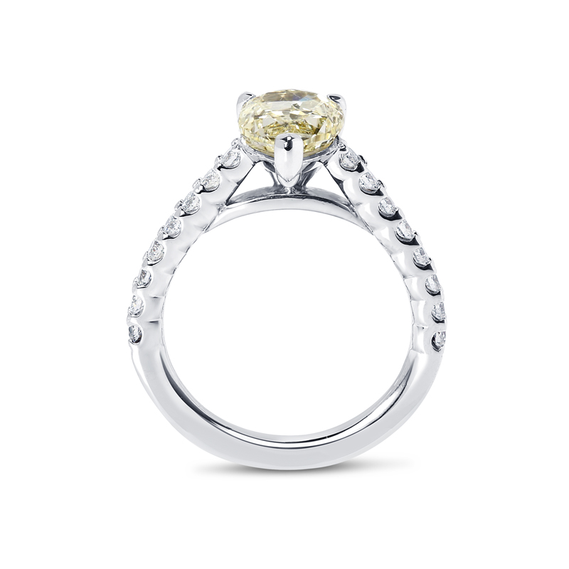 Yellow Pear Cut Diamond Fishtail Setting Engagement Ring