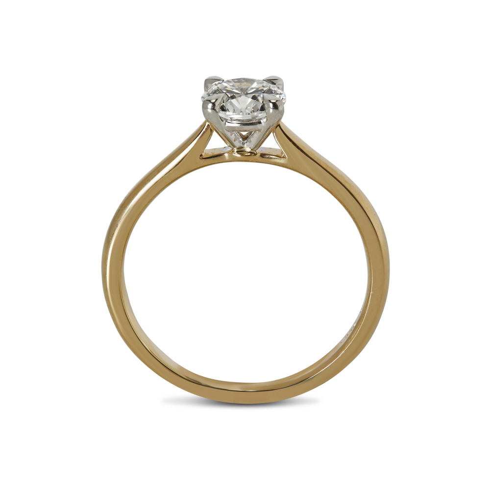 Yellow and White Gold Diamond Solitaire Engagement Ring