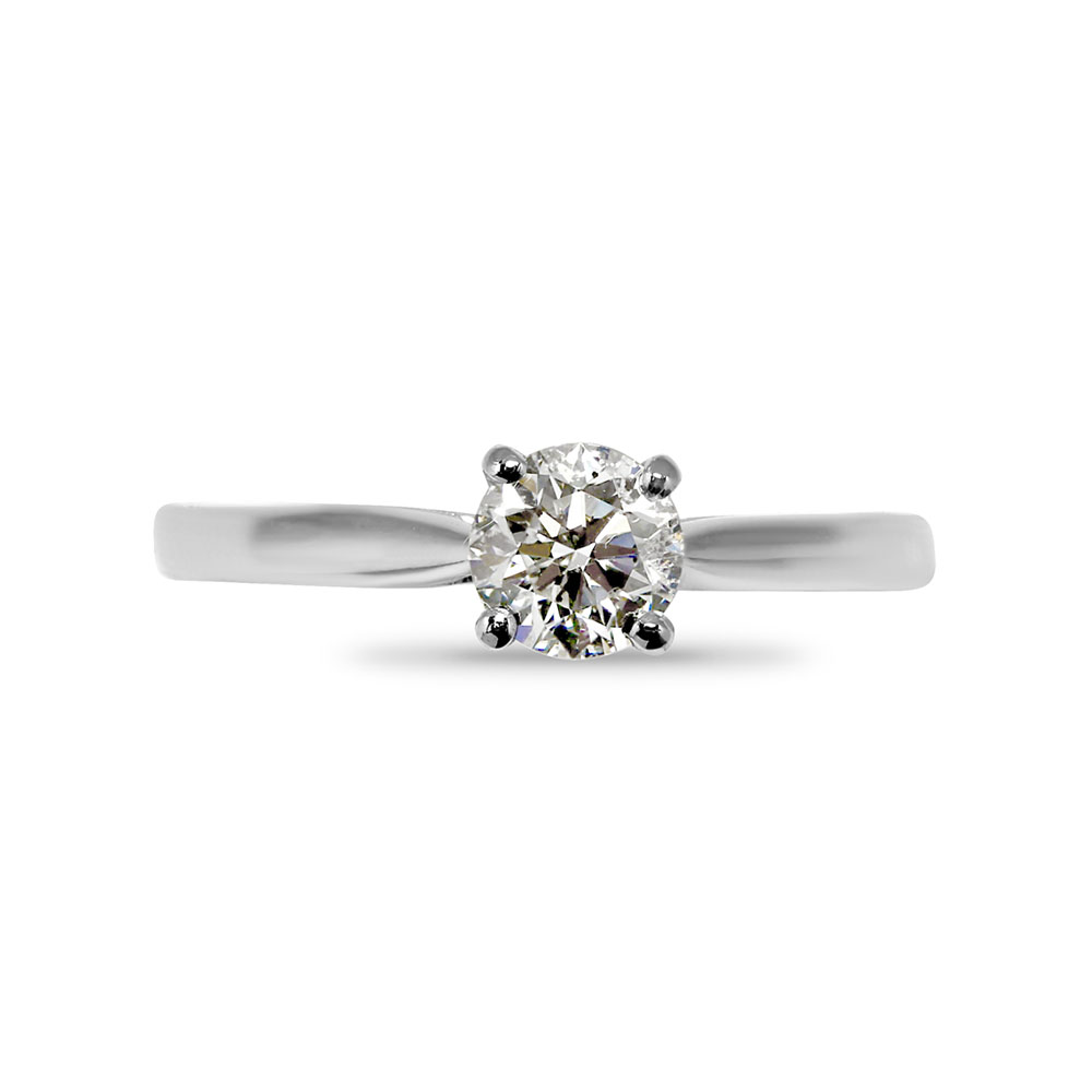 Four Claw Floating Round Cut Solitaire Diamond Engagement Ring