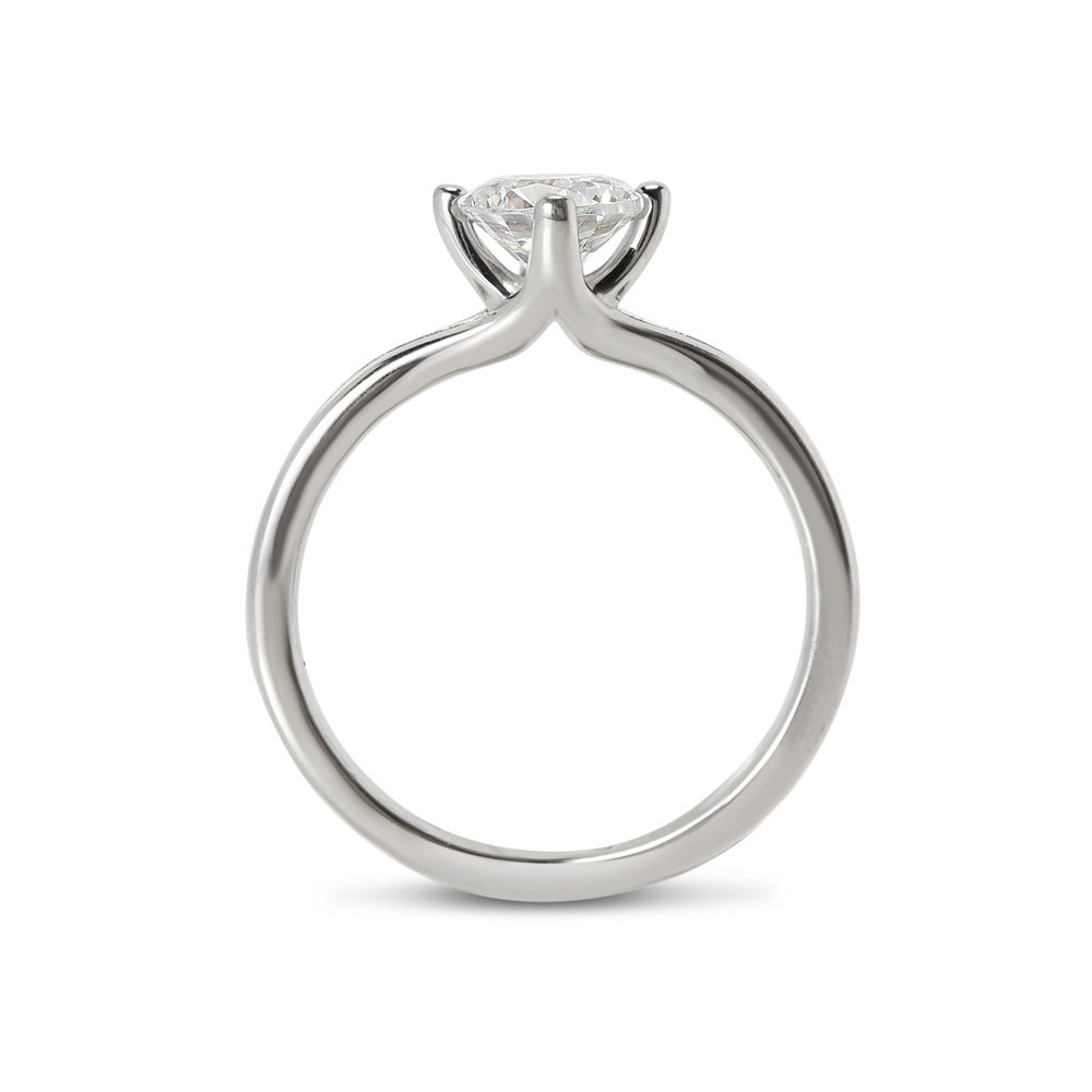 North East West South Lab Grown Round Diamond Engagement Ring
