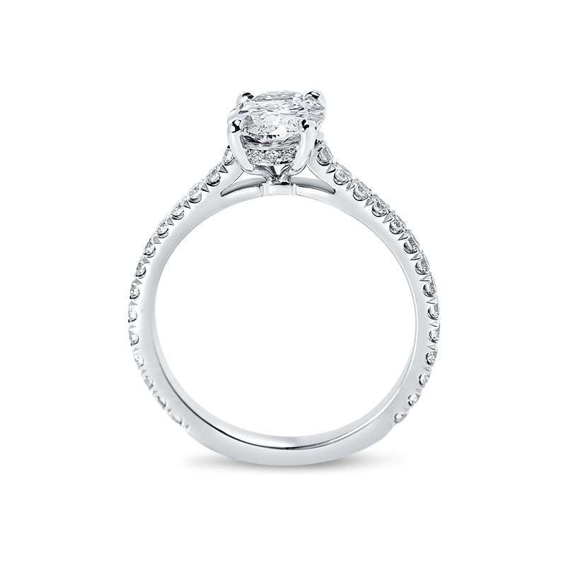 Oval Cut Thin Band Diamond Engagement Ring