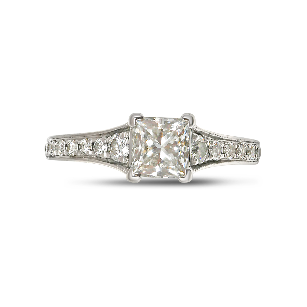 Four Claw Princess Cut Reverse Tapered Diamond Engagement Ring