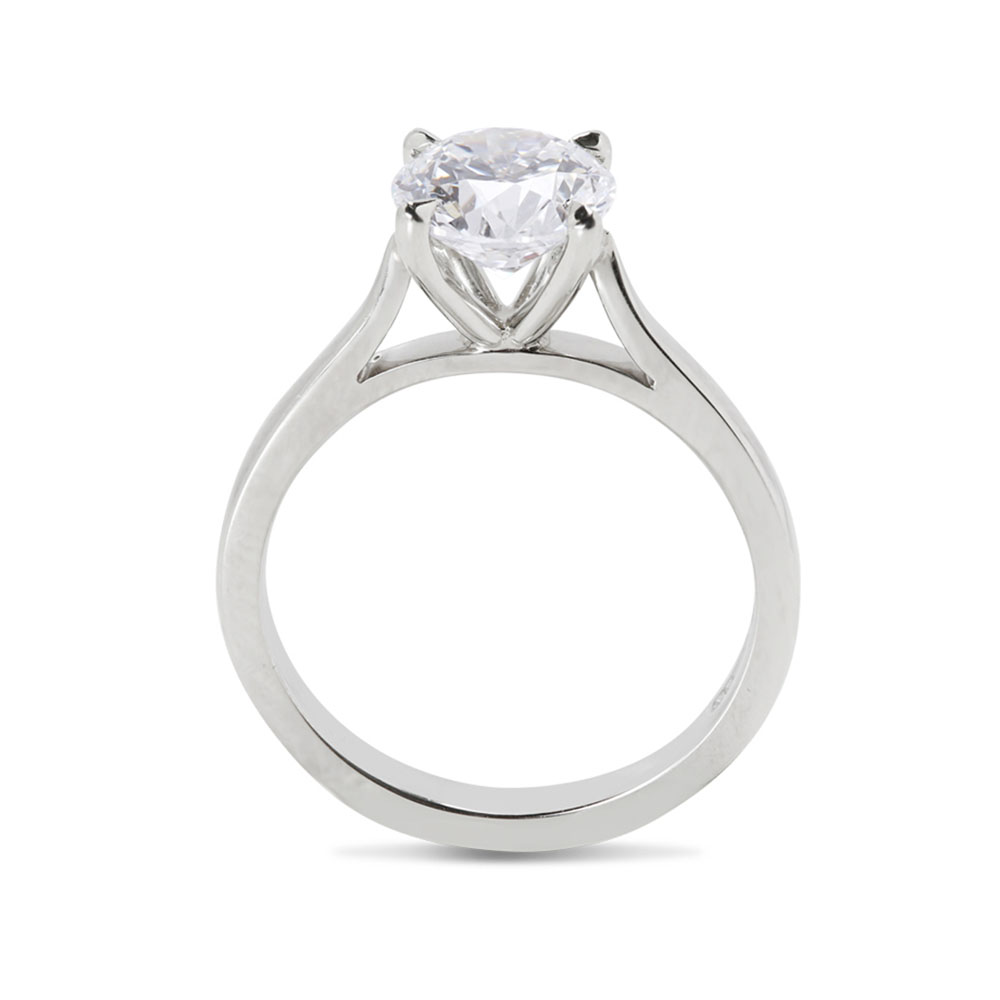 Raised Solitaire Diamond Engagement Ring