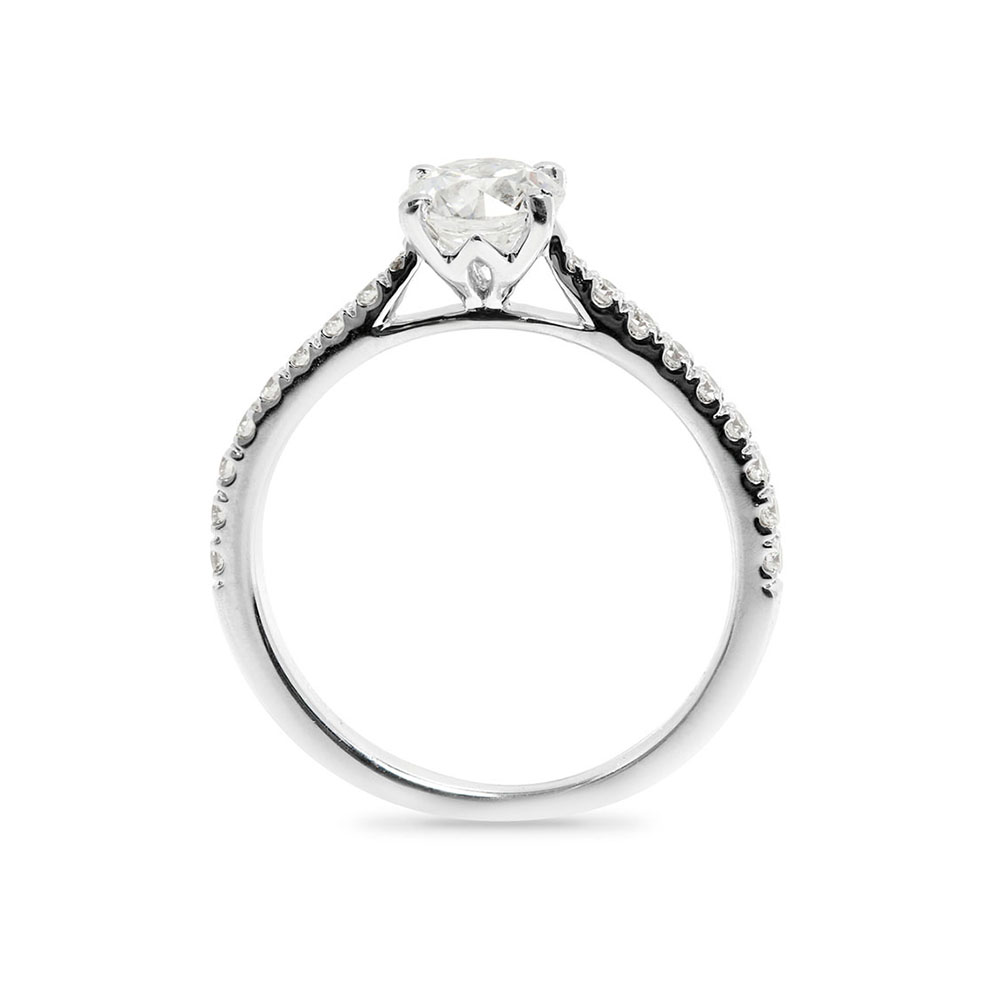 Four Claw Round Cut Claw Setting Diamond Engagement Ring