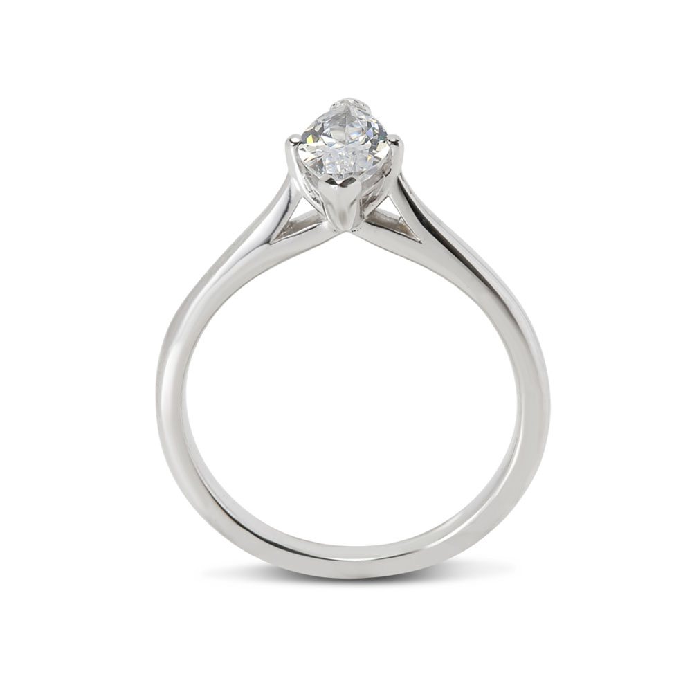 Plain Marquise Cut Solitaire Diamond Engagement Ring