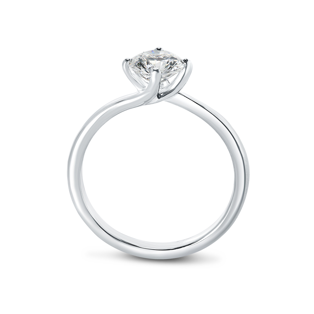 Twist Diamond Solitaire Engagement Ring