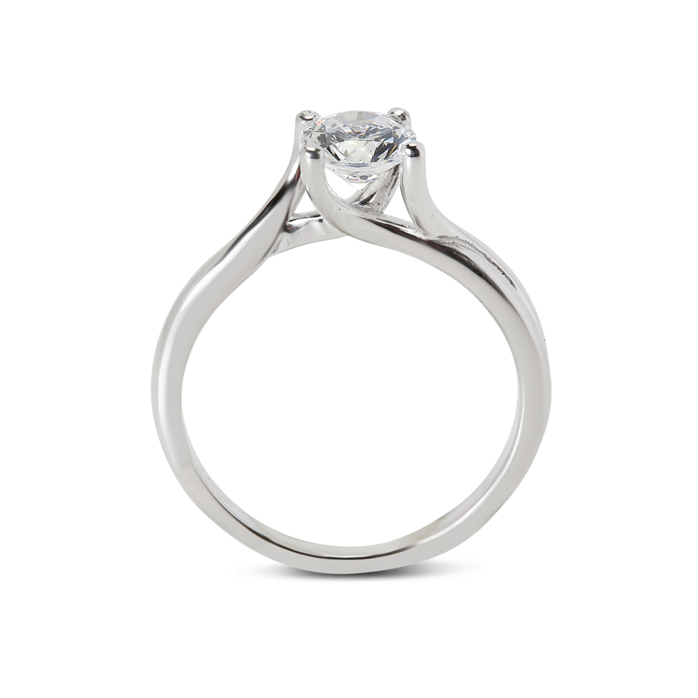 Twisted Band Plain Solitaire Diamond Engagement Ring