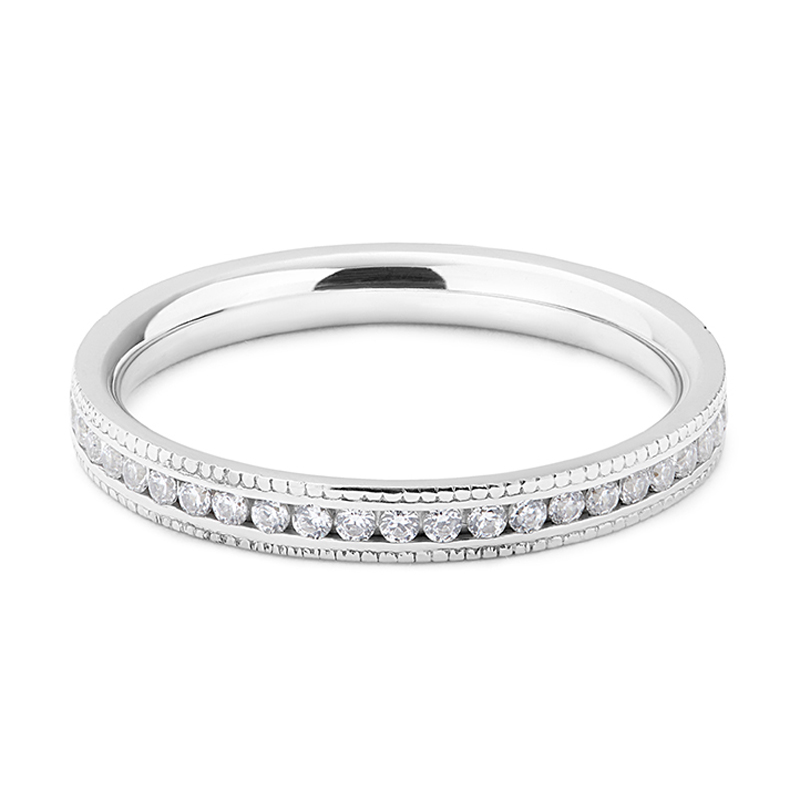 Classic Mille Grain Set 2.2mm Ring Half Band Diamond Wedding Ring