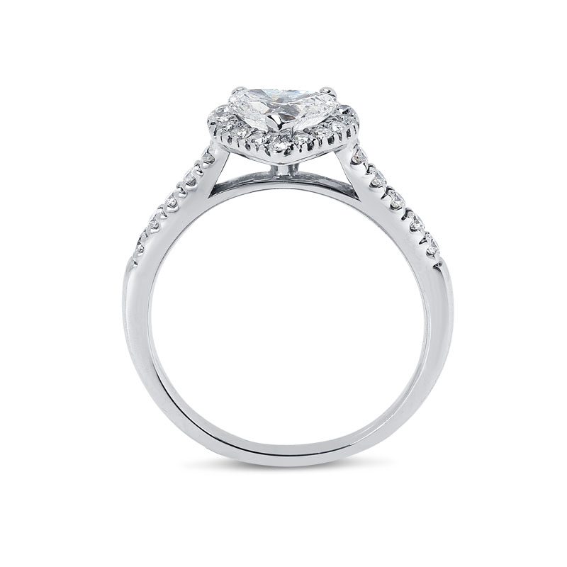 Heart Shape Halo Diamond Engagement Ring