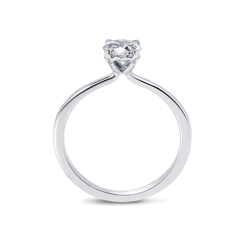 Heart Shape Setting Round Solitaire Diamond Engagement Ring