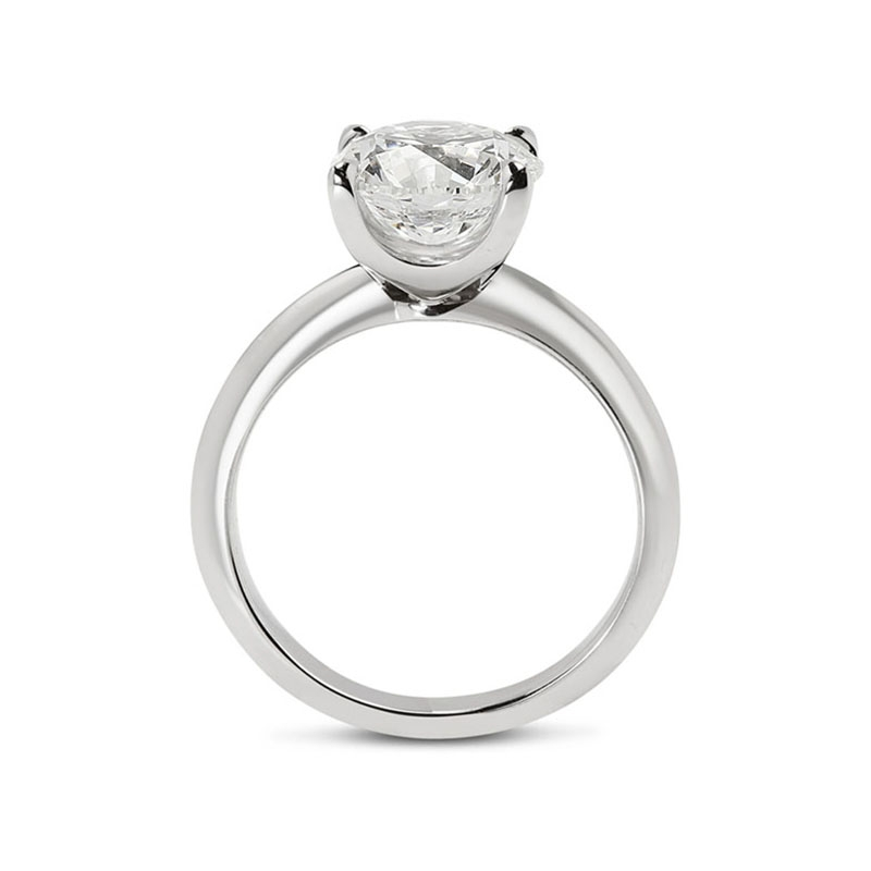 Knife Edge Solitaire Round Diamond Engagement Ring